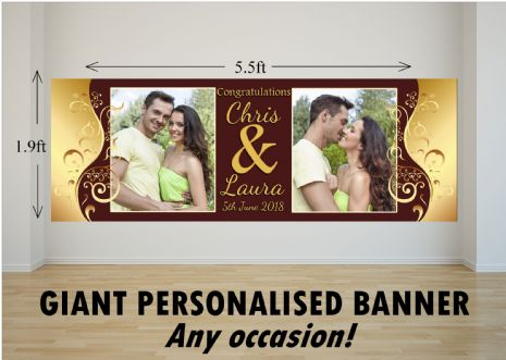 Personalised GIANT Large Congratulations Wedding Engagement Anniversary PHOTO Poster Banner N77